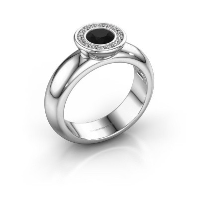 Foto van Stapelring Anna 585 witgoud zwarte diamant 0.735 crt