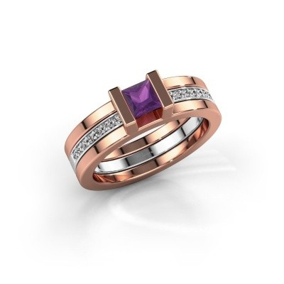 Foto van Ring Desire 585 rosé goud amethist 4 mm