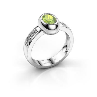 Ring Charlotte Oval 585 white gold peridot 7x5 mm
