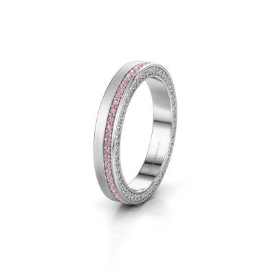 Trouwring WH2214L15BM 950 platina roze saffier 1 mm ±3,5x2 mm