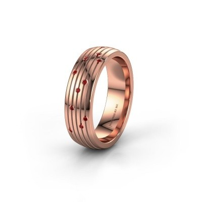 Wedding ring WH0150L26A 585 rose gold ruby ±0.24x0.07 in