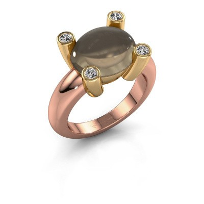 Ring Janice OVL 585 rosé goud rookkwarts 12x10 mm