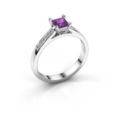 Engagement ring Nynke SQR 585 white gold amethyst 4 mm