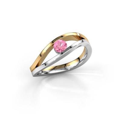 Foto van Ring Sigrid 1 585 witgoud roze saffier 4 mm
