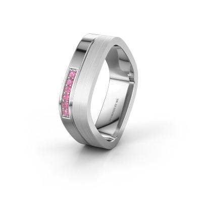 Wedding ring WH6030L16A 950 platinum pink sapphire ±6x1.7 mm