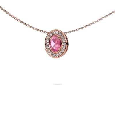Ketting Madelon 375 rosé goud roze saffier 6x4 mm