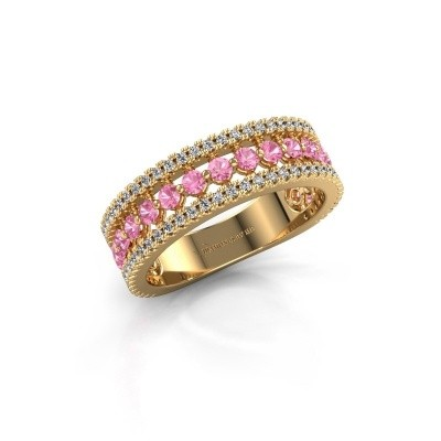Engagement ring Elizbeth 1 375 gold pink sapphire 2 mm