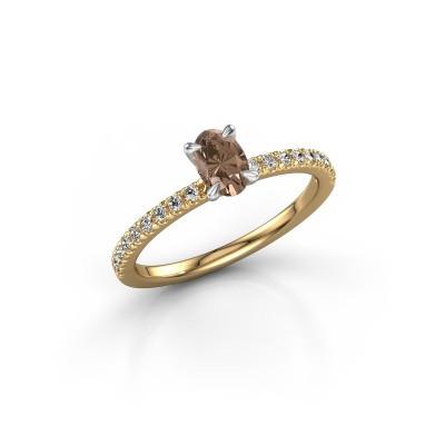 Foto van Verlovingsring Crystal OVL 2 585 goud bruine diamant 0.680 crt