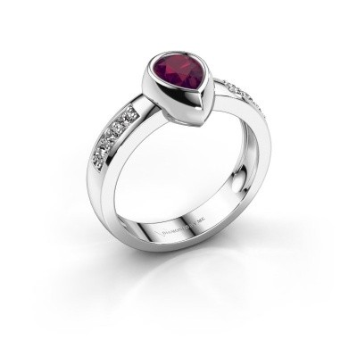 Ring Charlotte Pear 925 Silber Rhodolit 8x5 mm