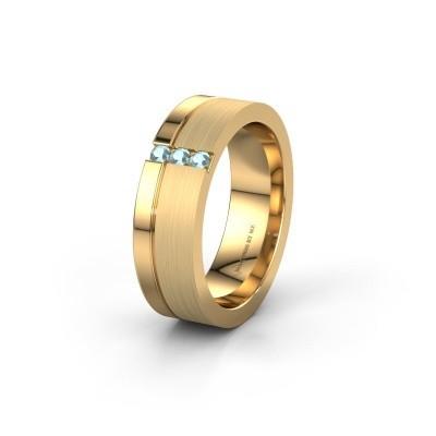 Trouwring WH0327L16B 585 goud aquamarijn ±6x2 mm