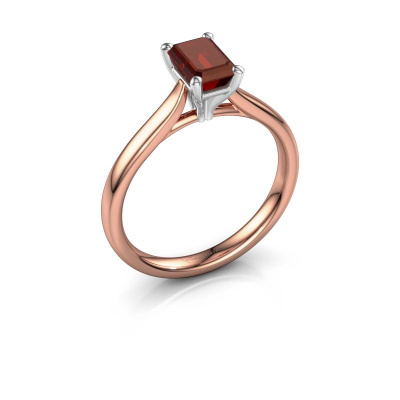 Verlovingsring Mignon eme 1 585 rosé goud granaat 6.5x4.5 mm