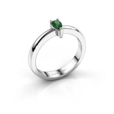 Foto van Verlovingsring Florentina Pear 585 witgoud smaragd 7x5 mm