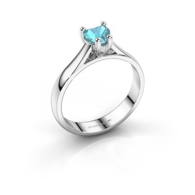 Verlobungsring Sam Heart 925 Silber Blau Topas 5 mm