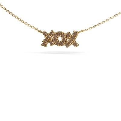 Collier XoX 375 or jaune diamant brun 0.285 crt