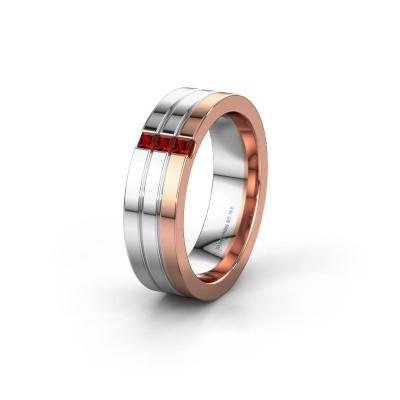Wedding ring WH0428L16BP 585 rose gold garnet ±0.24x0.08 in