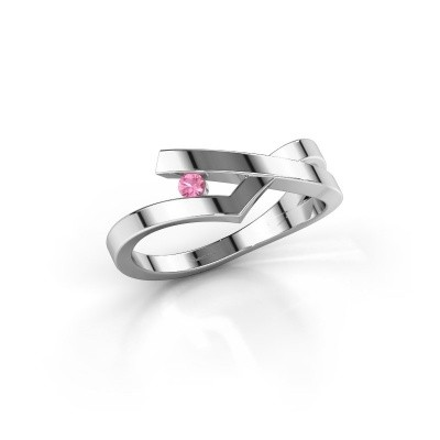 Ring Pamella 585 witgoud roze saffier 2.2 mm