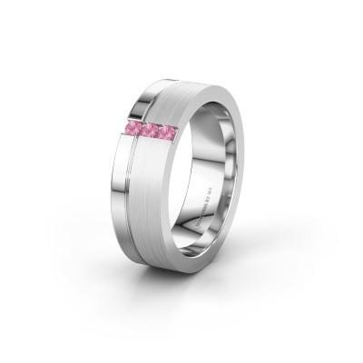 Trouwring WH0327L16B 950 platina roze saffier ±6x2 mm