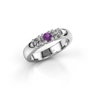 Engagement ring Rianne 3 585 white gold amethyst 3.4 mm