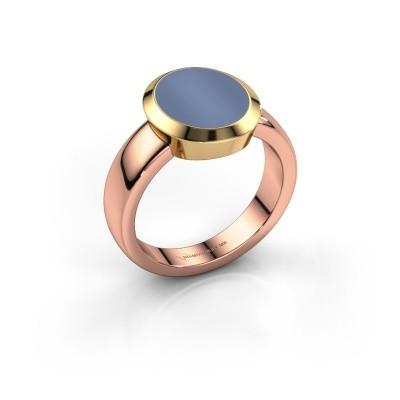 Zegelring Oscar 3 585 rosé goud licht blauwe lagensteen 12x10 mm