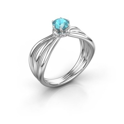 Engagement ring Kimi 585 white gold blue topaz 5 mm