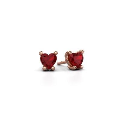 Foto van Oorbellen Sam Heart 375 rosé goud robijn 5 mm