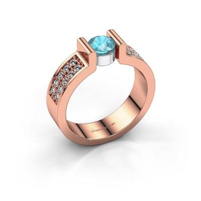 Engagement ring Isabel 3 585 rose gold blue topaz 5 mm