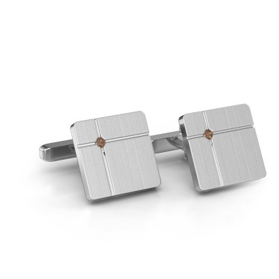 Foto van Manchetknopen Hilco 925 zilver bruine diamant 0.06 crt