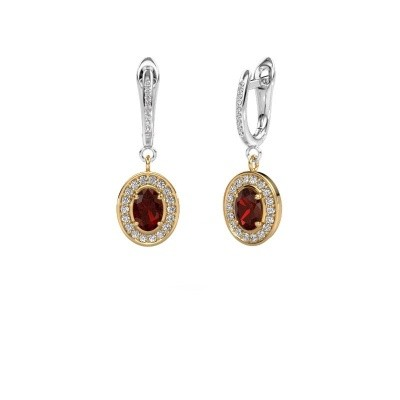 Picture of Drop earrings Layne 2 585 gold garnet 7x5 mm