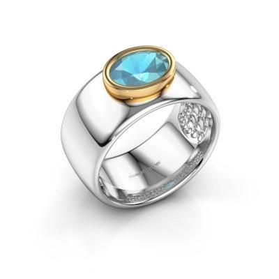 Ring Anouschka 585 white gold blue topaz 8x6 mm