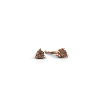 Foto van Oorstekers Somer 375 rosé goud bruine diamant 0.10 crt