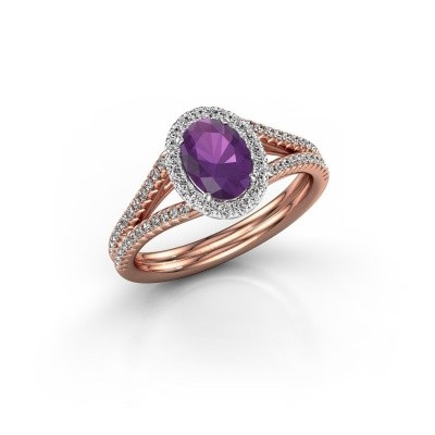 Engagement ring Rachele 2 585 rose gold amethyst 7x5 mm