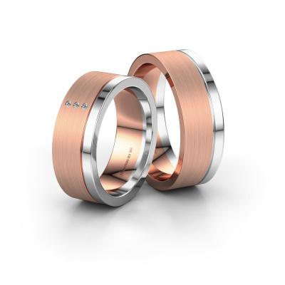 Foto van Trouwringen set WH0325LM17APM ±7x1.7 mm 14 karaat rosé goud diamant 0.008 crt