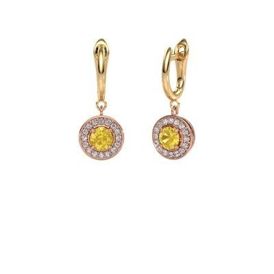Oorhangers Ninette 1 585 rosé goud gele saffier 5 mm