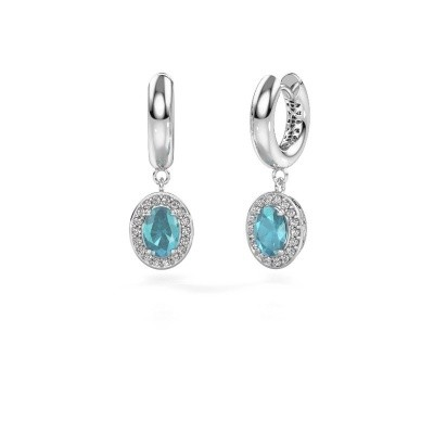 Drop earrings Annett 375 white gold blue topaz 7x5 mm