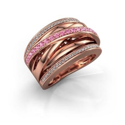 Foto van Ring Clair 2 585 rosé goud roze saffier 1.5 mm