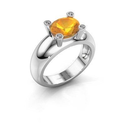 Ring Tamara OVL 585 witgoud citrien 9x7 mm