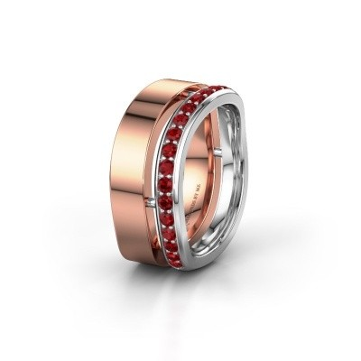 Weddings ring WH6008L18BP 585 rose gold ruby ±10x2 mm