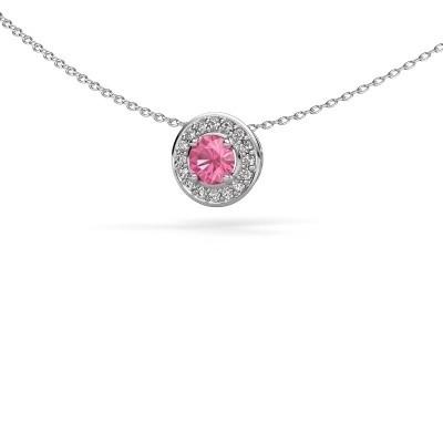 Hanger Agaat 925 zilver roze saffier 5 mm