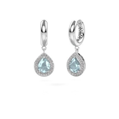 Picture of Drop earrings Barbar 1 925 silver aquamarine 8x6 mm