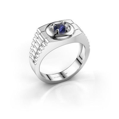 Foto van Rolex stijl ring Edward 585 witgoud saffier 4.7 mm