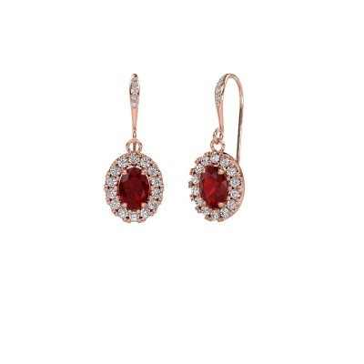 Picture of Drop earrings Jorinda 2 375 rose gold ruby 7x5 mm