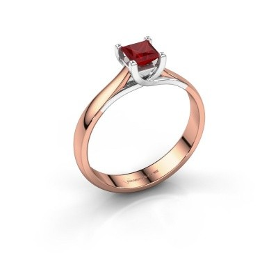 Engagement ring Mia Square 585 rose gold ruby 4 mm