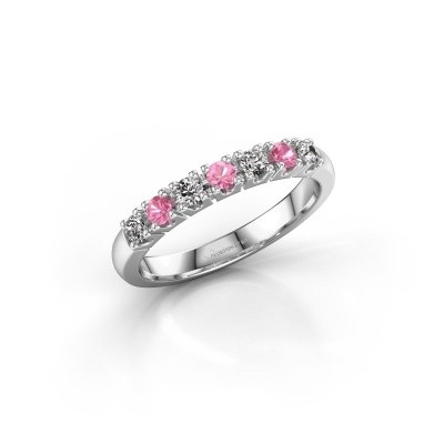 Foto van Belofte ring Rianne 7 585 witgoud roze saffier 2.4 mm