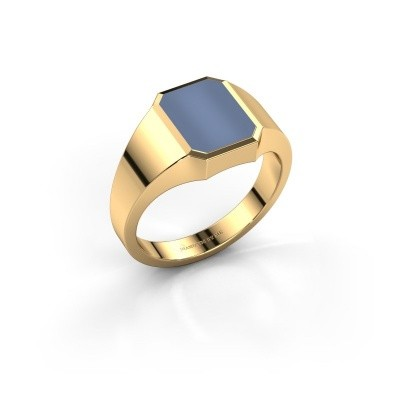 Foto van Pinkring Lars 1 585 goud licht blauwe lagensteen 10x8 mm