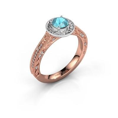 Verlovings ring Alice RND 585 rosé goud blauw topaas 5 mm