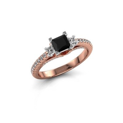 Verlovingsring Valentina 585 rosé goud zwarte diamant 0.97 crt