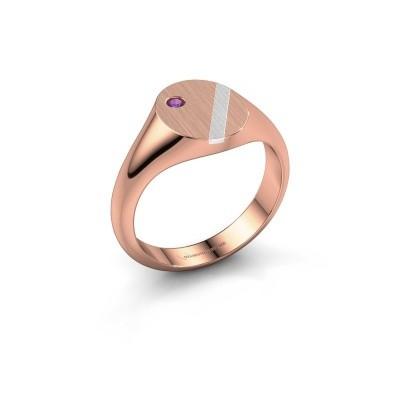 Foto van Pinkring Finn 3 585 rosé goud amethist 2 mm