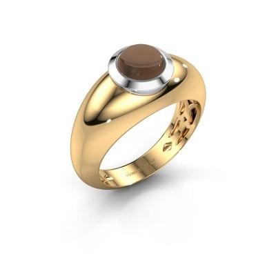 Ring Sharika 585 goud rookkwarts 6 mm