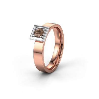 Trouwring WH2112L14A 585 rosé goud bruine diamant ±4x1.7 mm