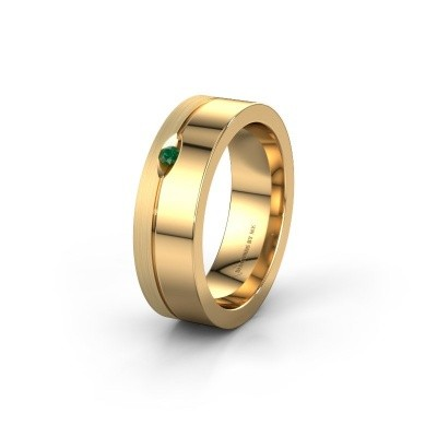 Wedding ring WH0329L16B 585 gold emerald ±0.24x0.08 in